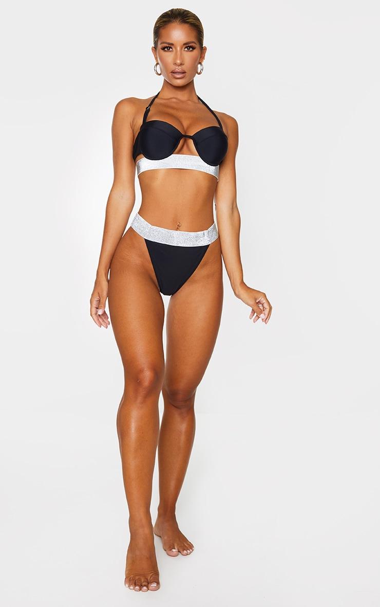 Black Glitter Waist Tanga Bikini Bottoms 4