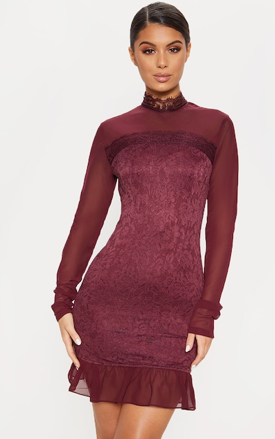 d8c9332503 Burgundy High Neck Lace Long Sleeve Bodycon Dress
