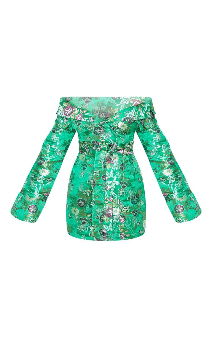 Robe moulante verte imprimé style asiatique à épaules découvertes 5