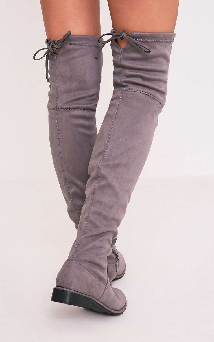 Hillary Grey Faux Suede Over The Knee Flat Boots 4