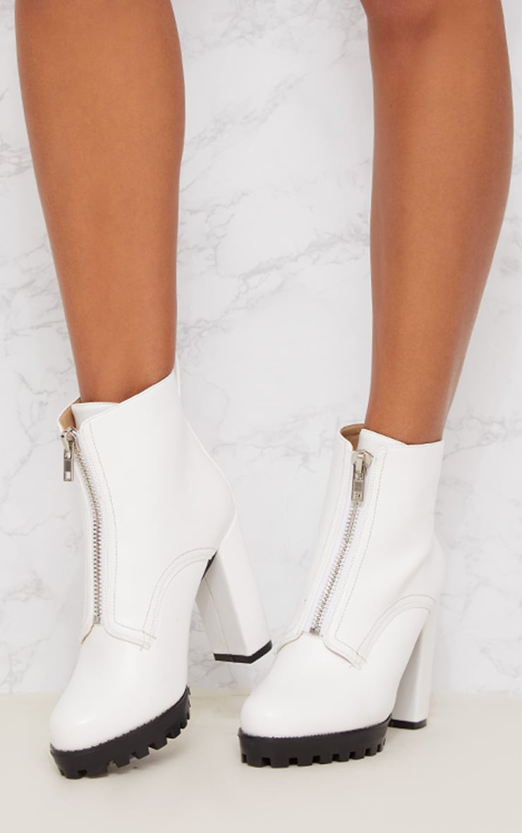 White Platform Cleated Zip Front Ankle Boot 2