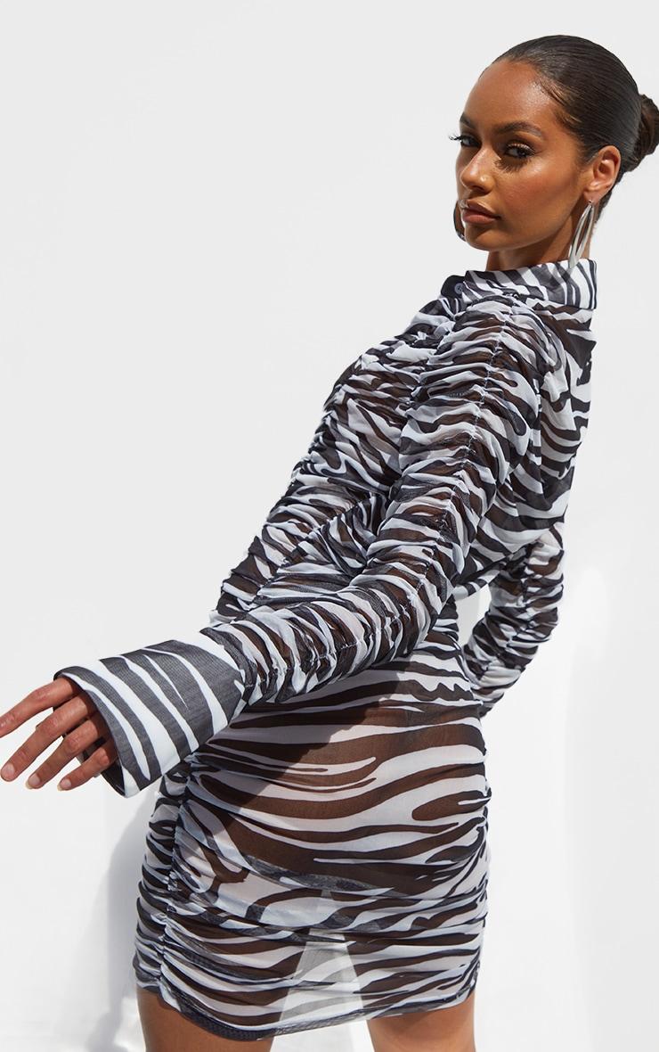 Monochrome Zebra Print Mesh Ruched Oversized Cuff Shirt Dress 2