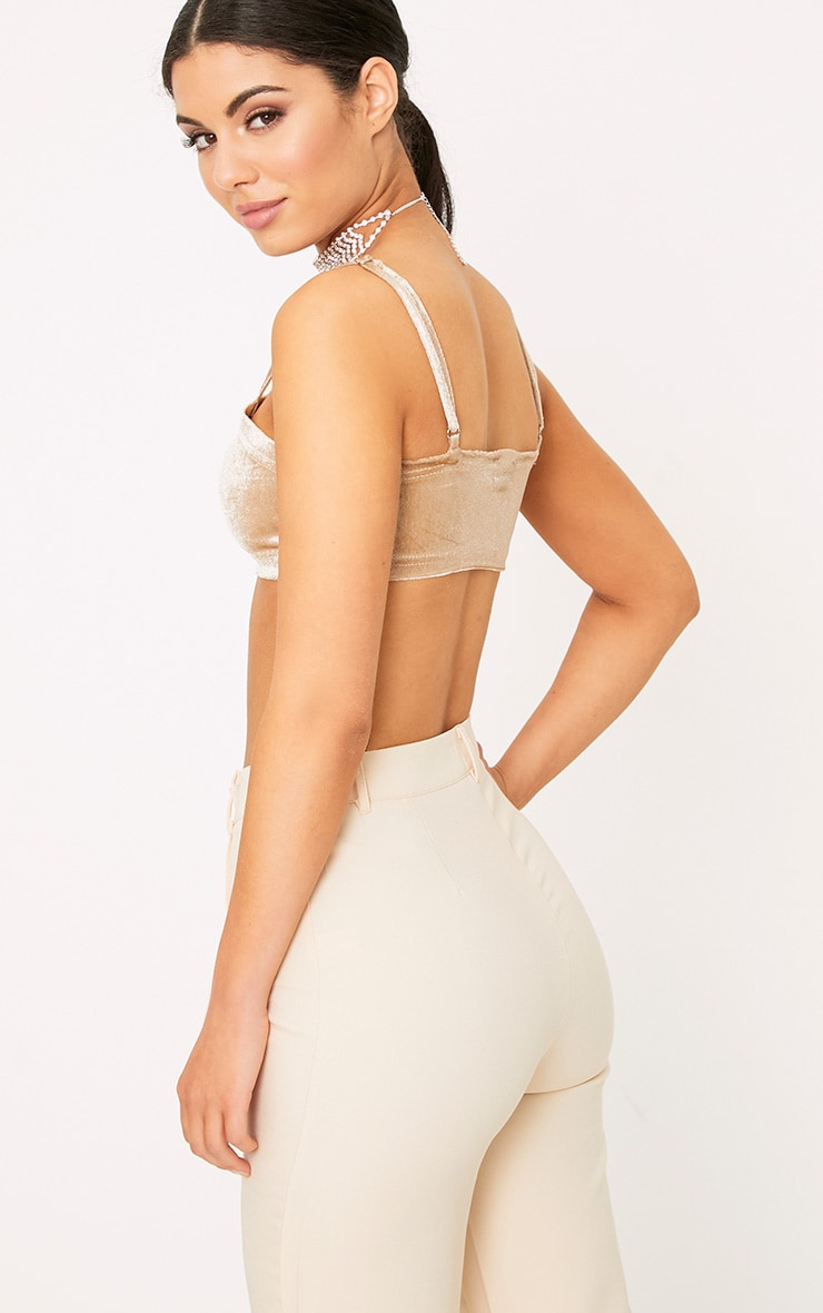 Anala Champagne Velvet Strappy Crop Top 2
