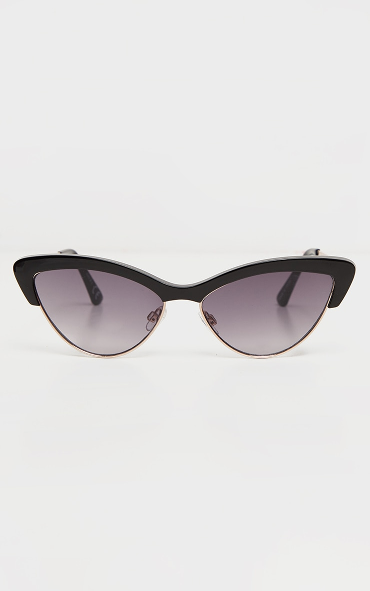 Black Half Frame Cat Eye Sunglasses 2
