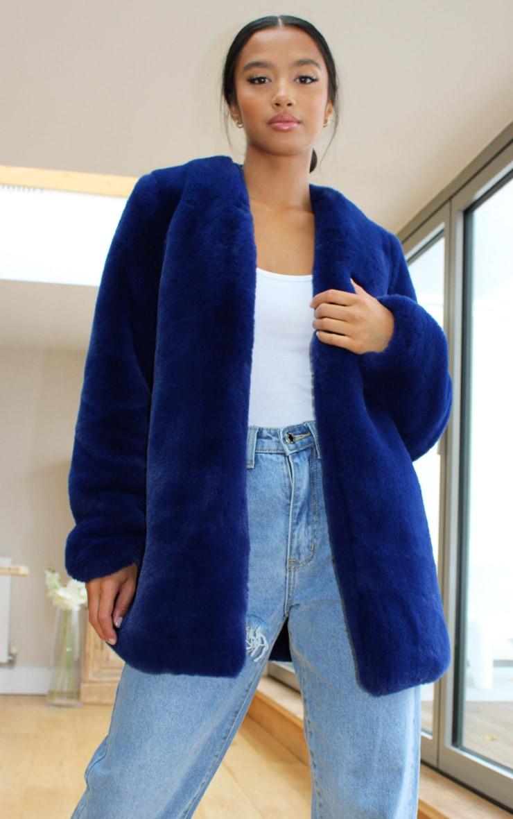Petite Blue Faux Fur Coat 1
