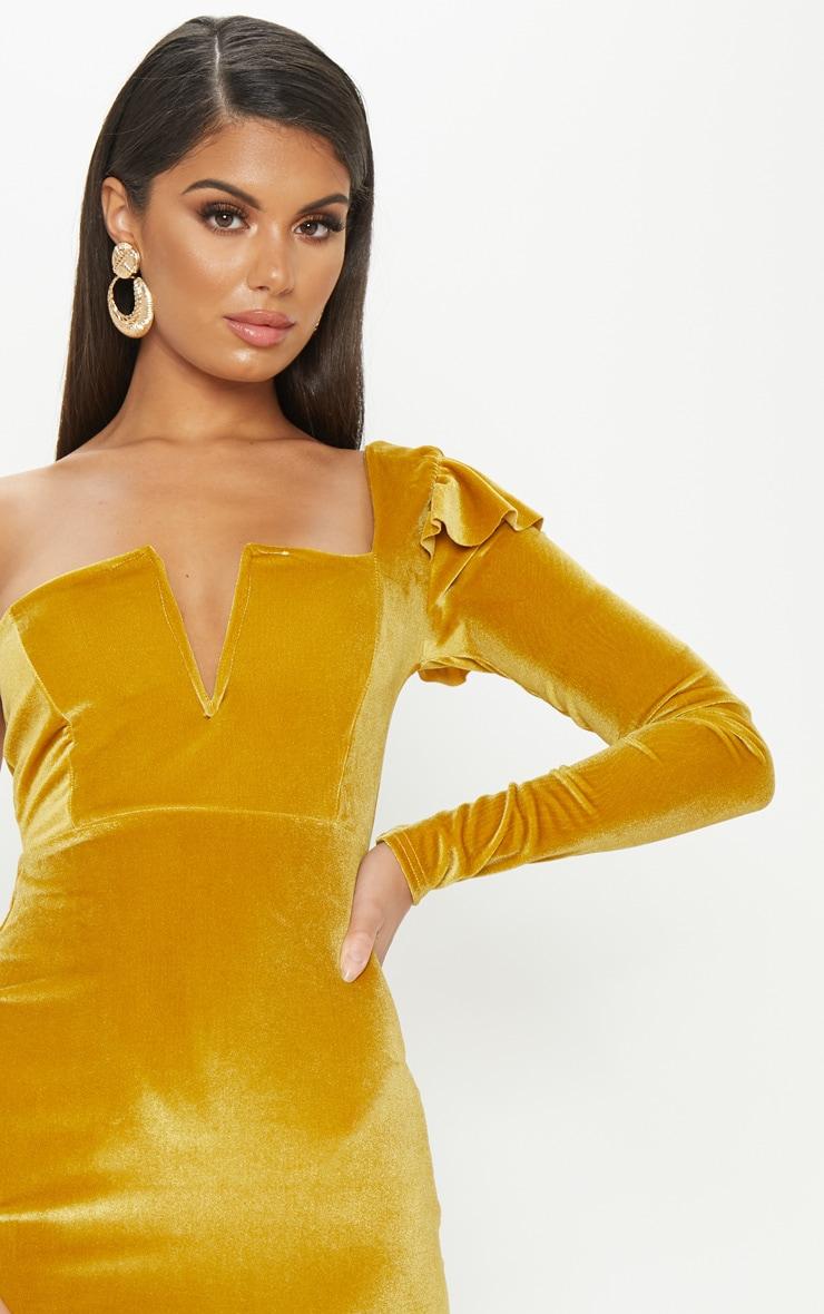 Mustard Velvet Plunge One Shoulder Bodycon Dress 5