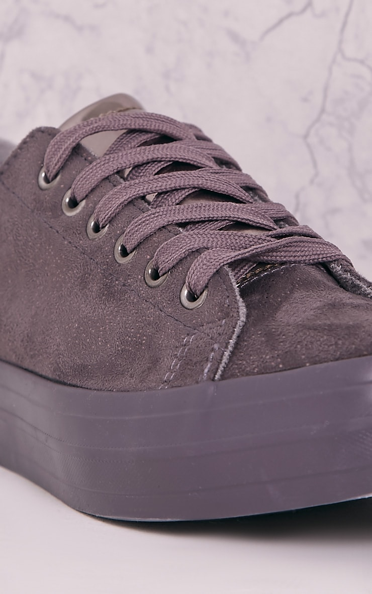 Tyra Grey Faux Suede Lace Up Pumps 5