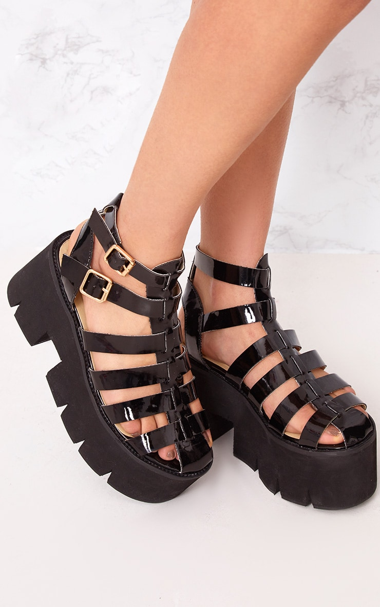 Jovana Black Cleated Flatform Sandals 1