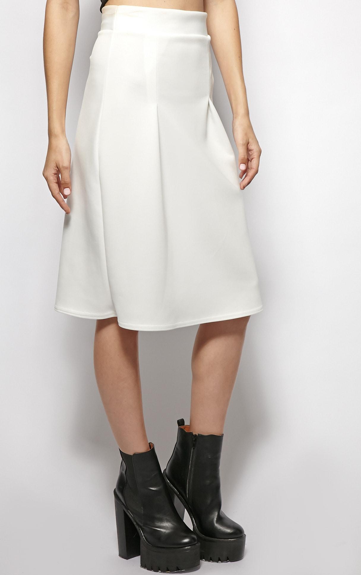 Clarissa White A Line Midi Skirt  4