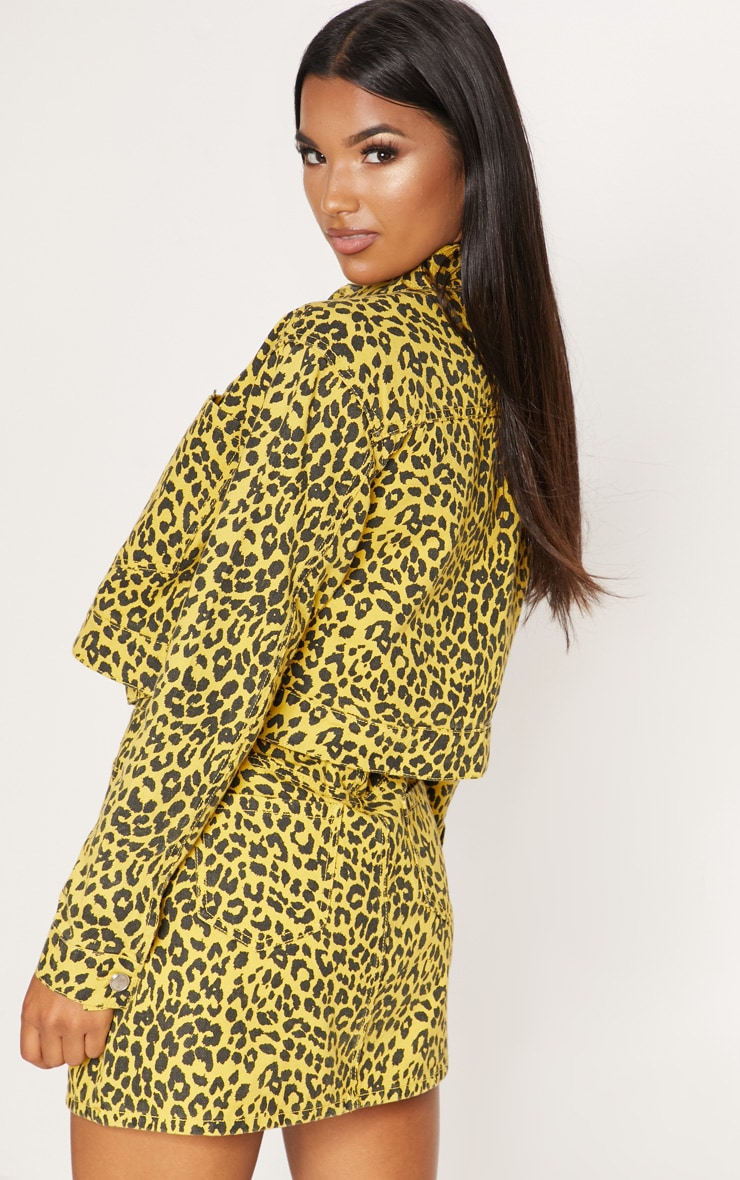 Yellow Leopard Denim Jacket 3