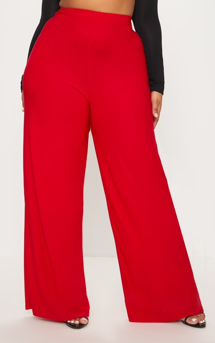 Plus Red High Waisted Wide Leg Trousers 2