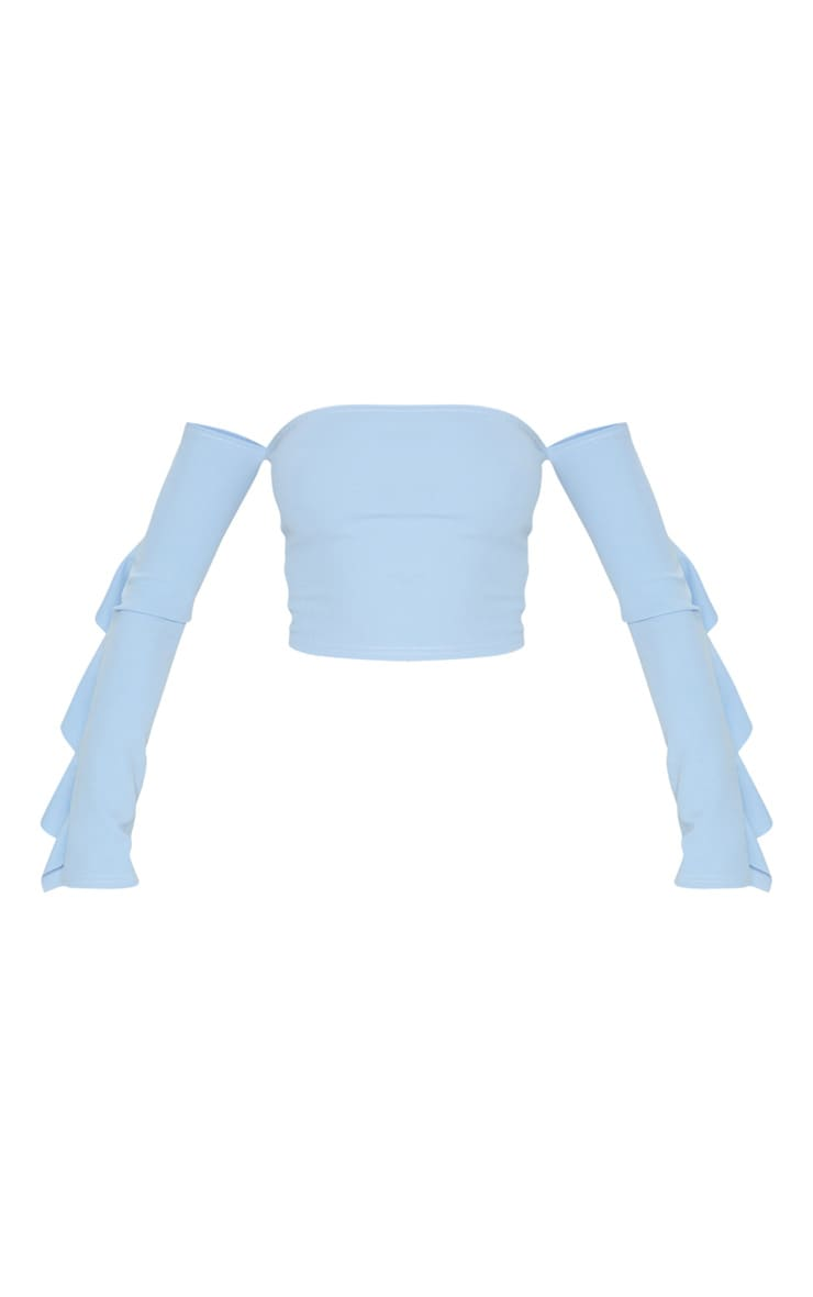 Dusky Blue Crepe Bardot Frill Sleeve Crop Top 3