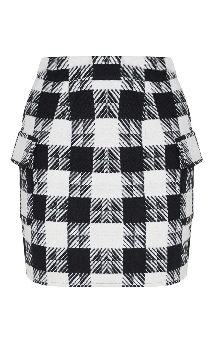 Black Check Oversized Pocket Tweed Mini Skirt 3