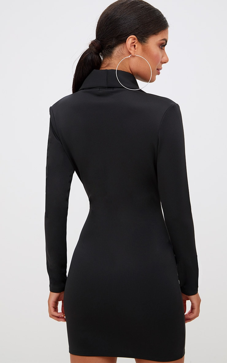 Black Zip Detail Blazer Dress 2