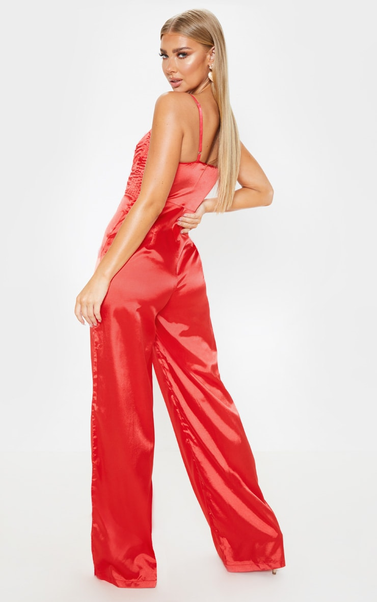 Red Satin Quilted Bust Wide Leg Jumpsuit 3