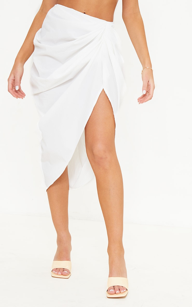 White Textured Woven Ruched Side Midi Skirt 2