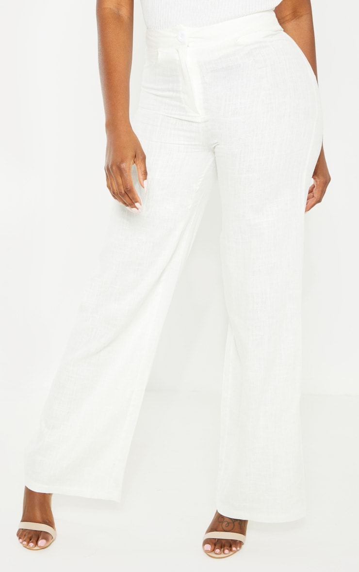 Petite White Wide Leg High Waisted Trouser 2
