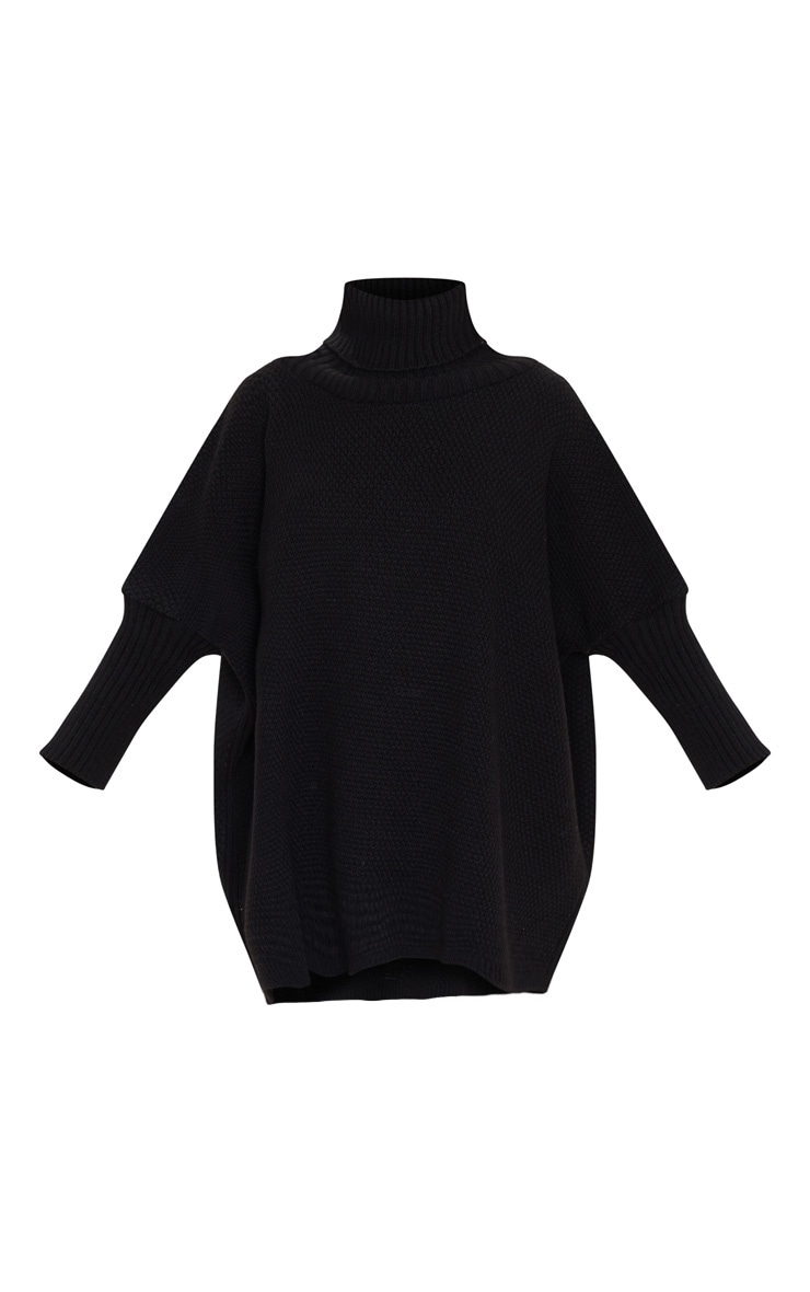 Black Oversized Slouchy Knitted Sweater 3