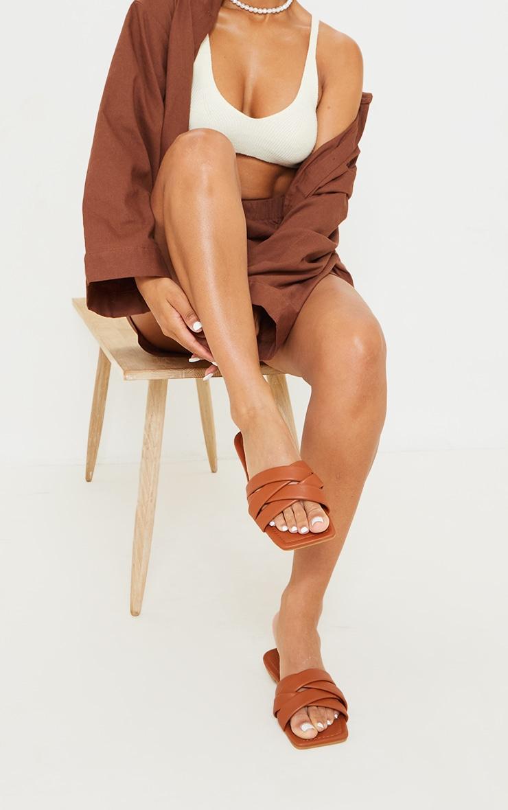 Tan PU Toe Basket Weave Mule Sandals 2