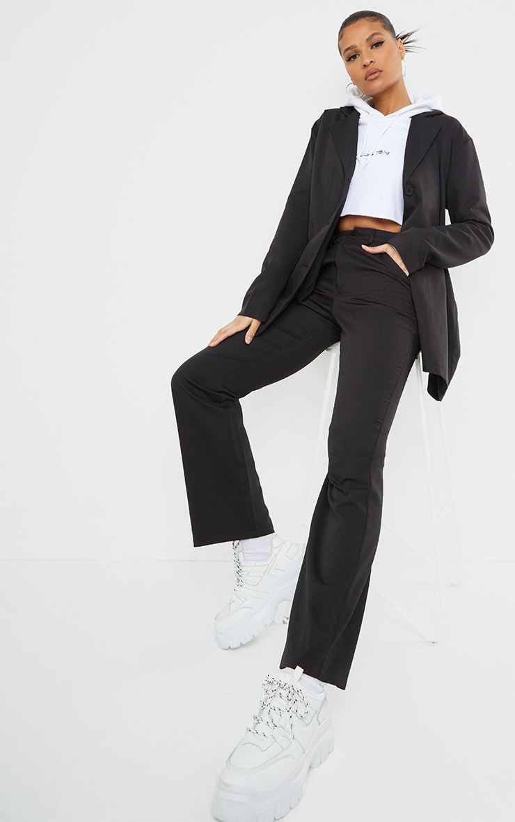 Black Woven Seam Front Dad Pants 1