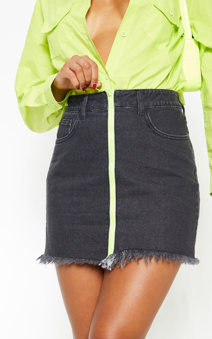 Washed Black Neon Zip Front Denim Skirt 6