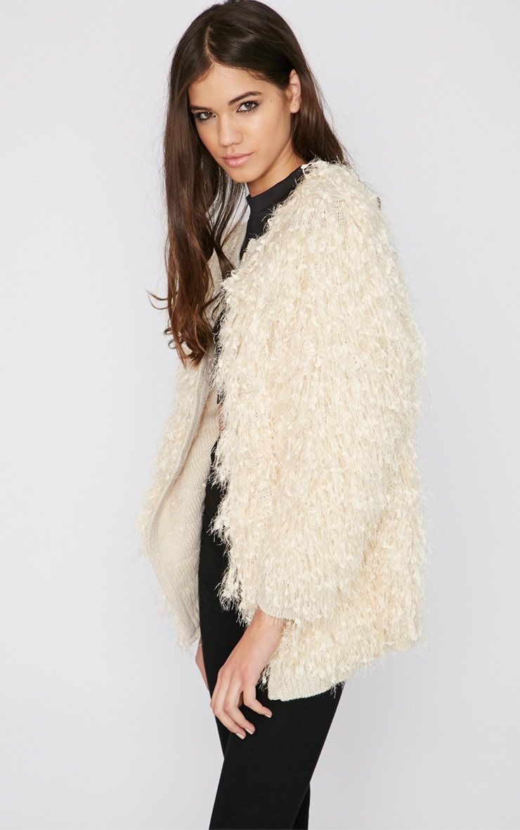 Naima Cream Shaggy Knitted Jacket 5