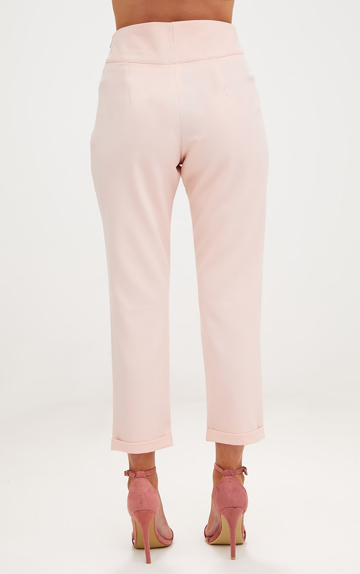 Petite Nude High Waisted Tapered Trousers 4