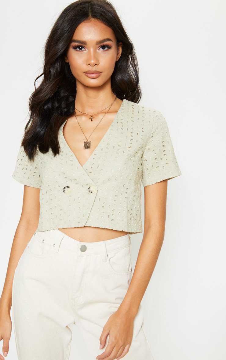 Stone Broderie Anglaise Button Front Short Sleeve Top 2