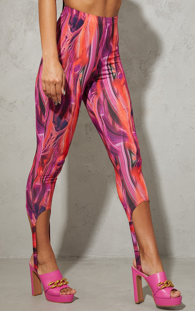 Bright Pink Abstract Print Slinky Stirrup Leggings 2