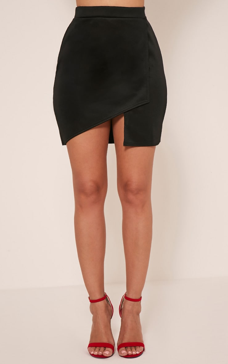 Marcella Black Asymmetric Wrap Mini Skirt 2
