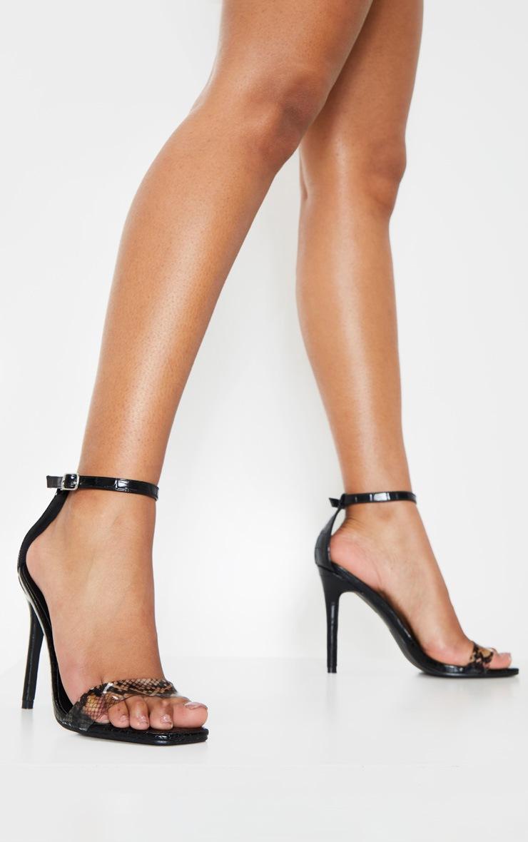 Black Square Toe Snake Strap Sandal 2
