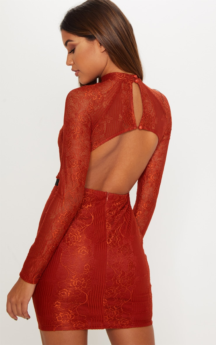 Rust Ribbed Lace Backless Bodycon Dress 2