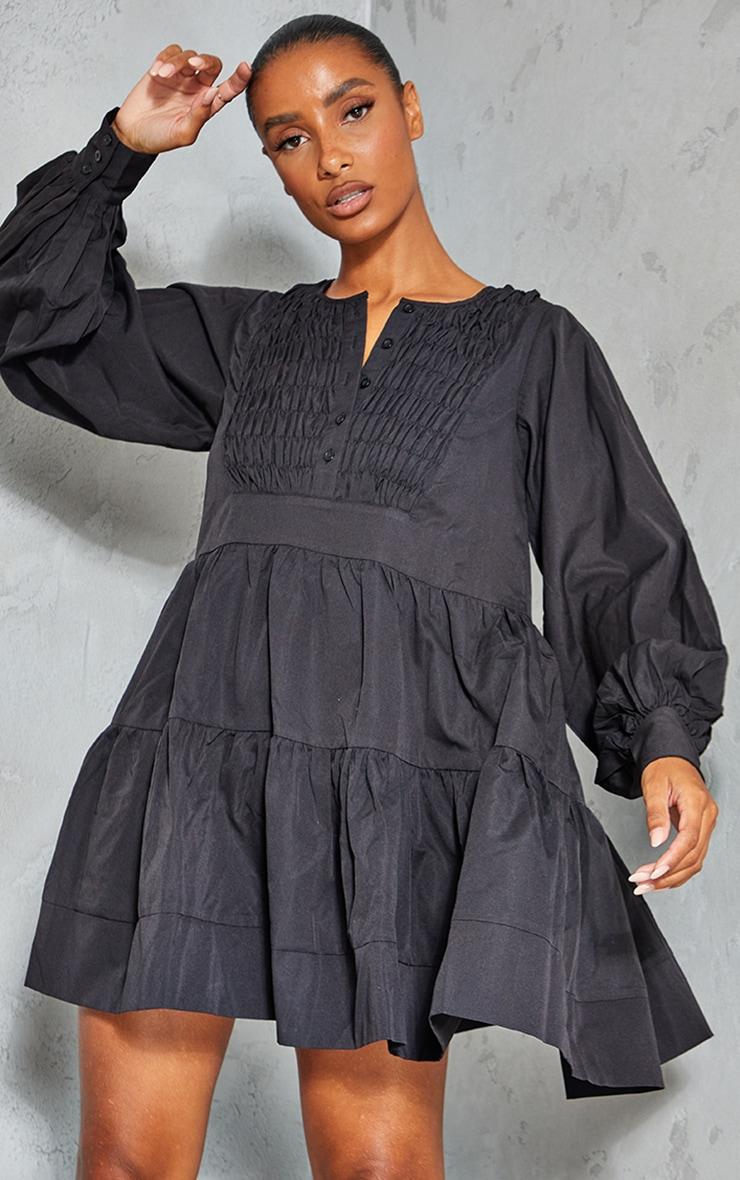 Black Woven Ruffled Tiered Smock Dress 1