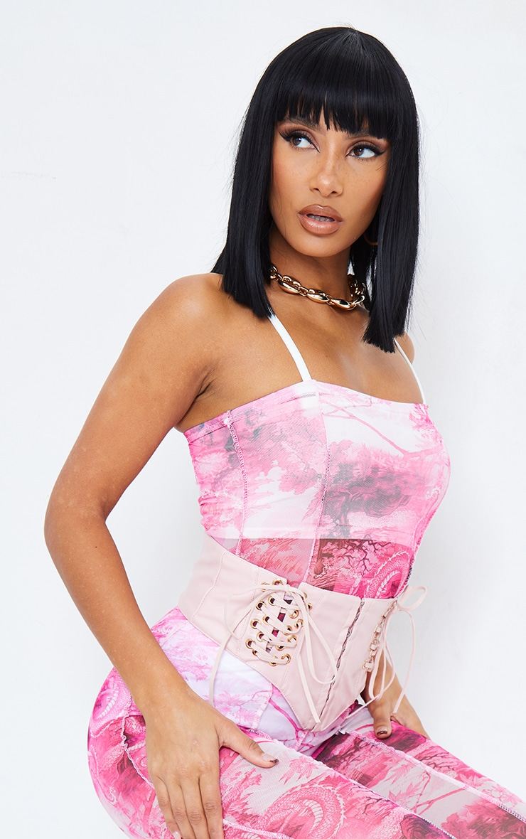 Pink Print Seam Detail Strappy Mesh Jumpsuit 5