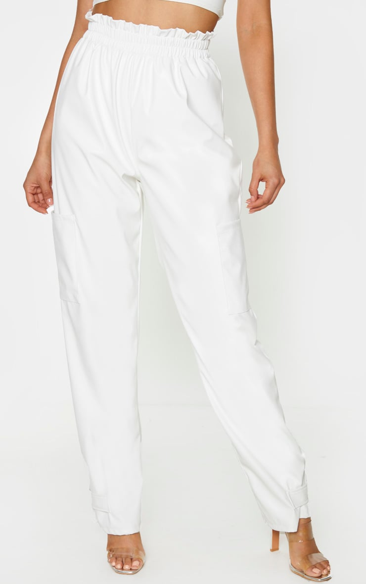 Tall Cream Ruched Buckle PU Hem Pants 2