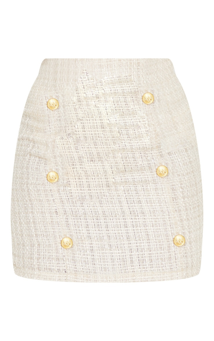 Stone Tweed Button Detail Mini Skirt 3