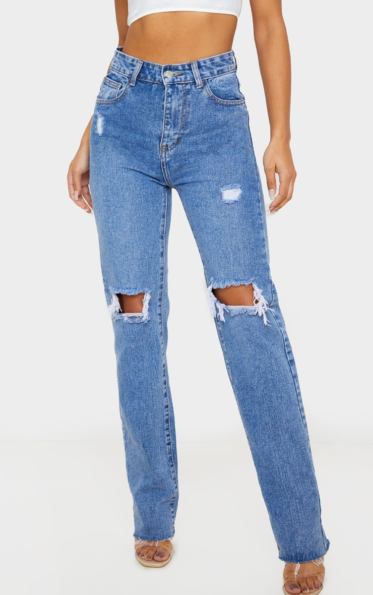 Mid Wash High Rise Distressed Straight Leg Jeans 2