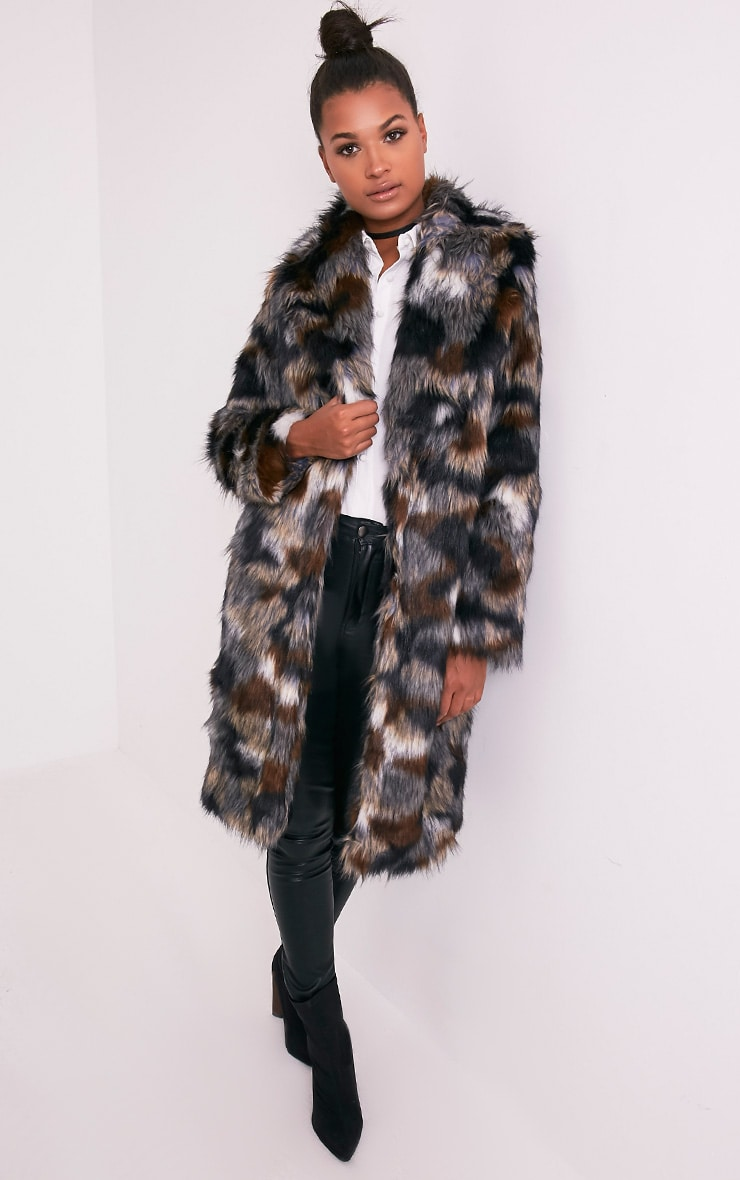Georgiana Premium manteau long en fausse fourrure multicolore 5