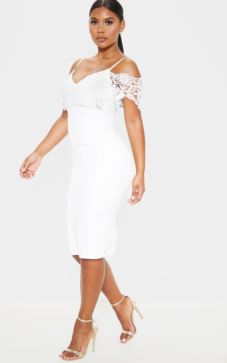 White Lace Cami Cold Shoulder Bodycon Midi Dress 3