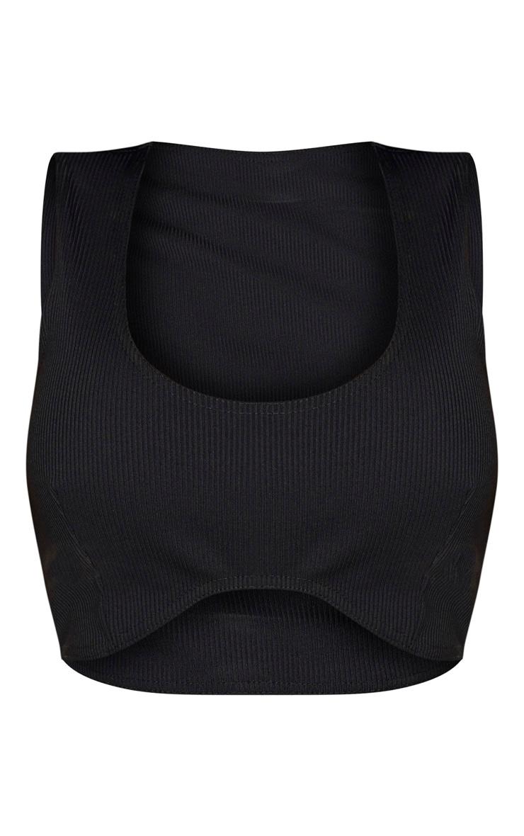 Shape - Crop top noir à ourlet incurvé et coutures apparentes 3