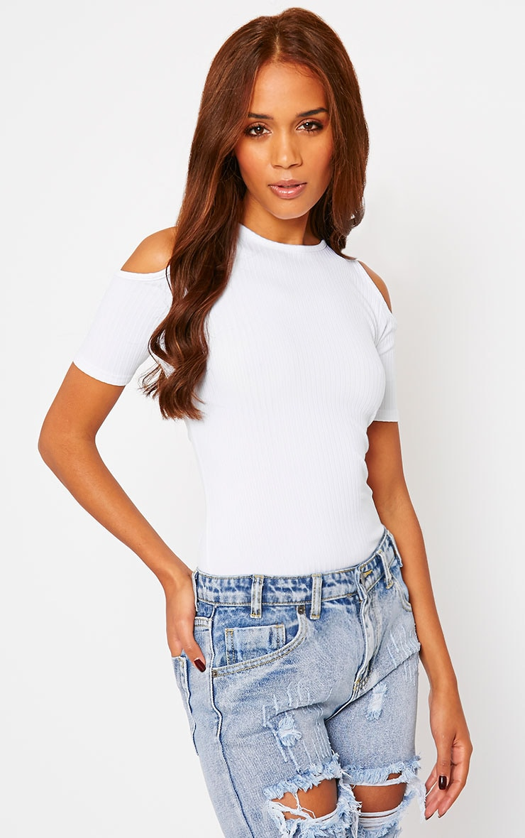 Marie White Ribbed Jersey Cut Out Shoulder Tee 4