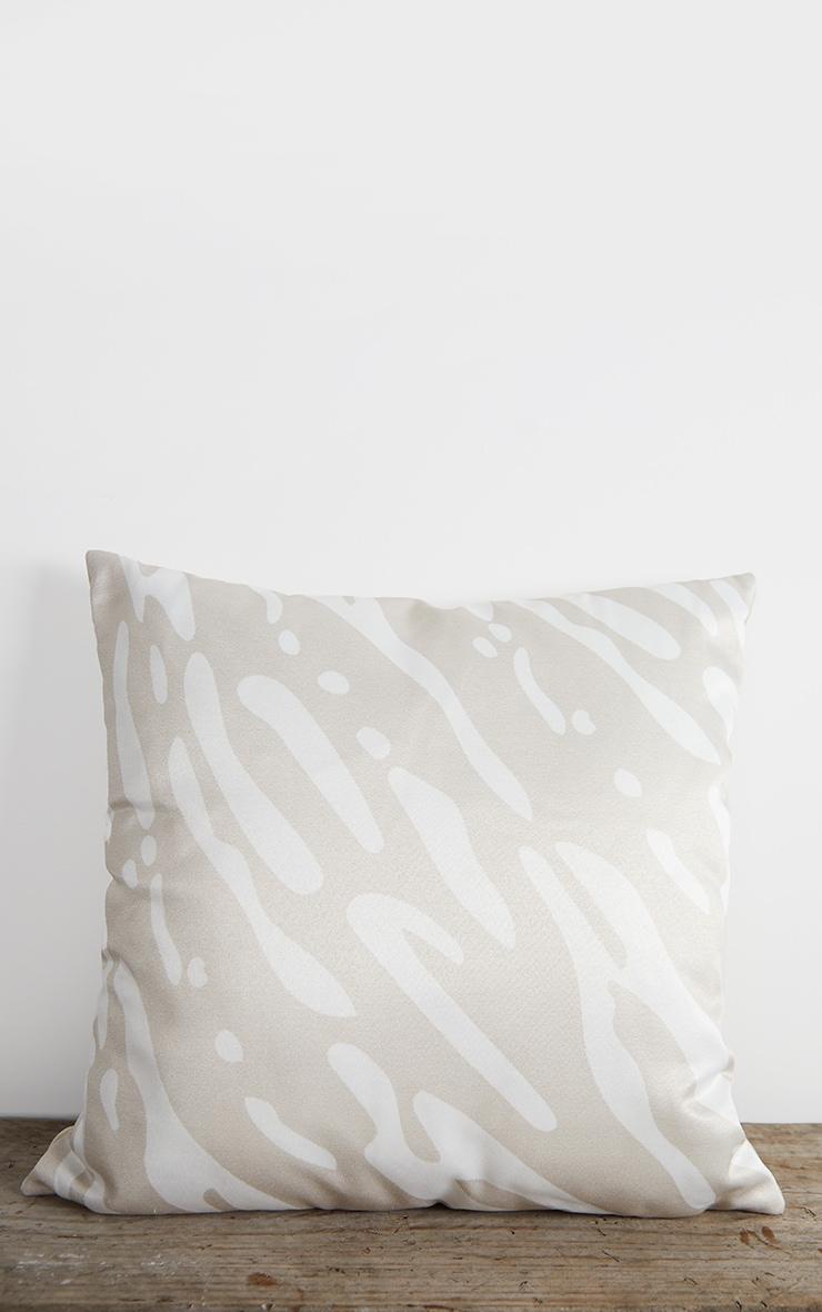 Cream Satin Zebra Print Filled Cushion 3