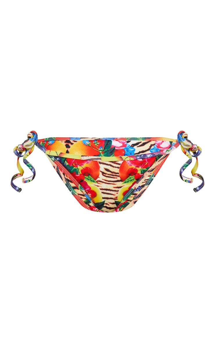 Multi Wild Fruit Print Tie Side Bikini Bottom 3
