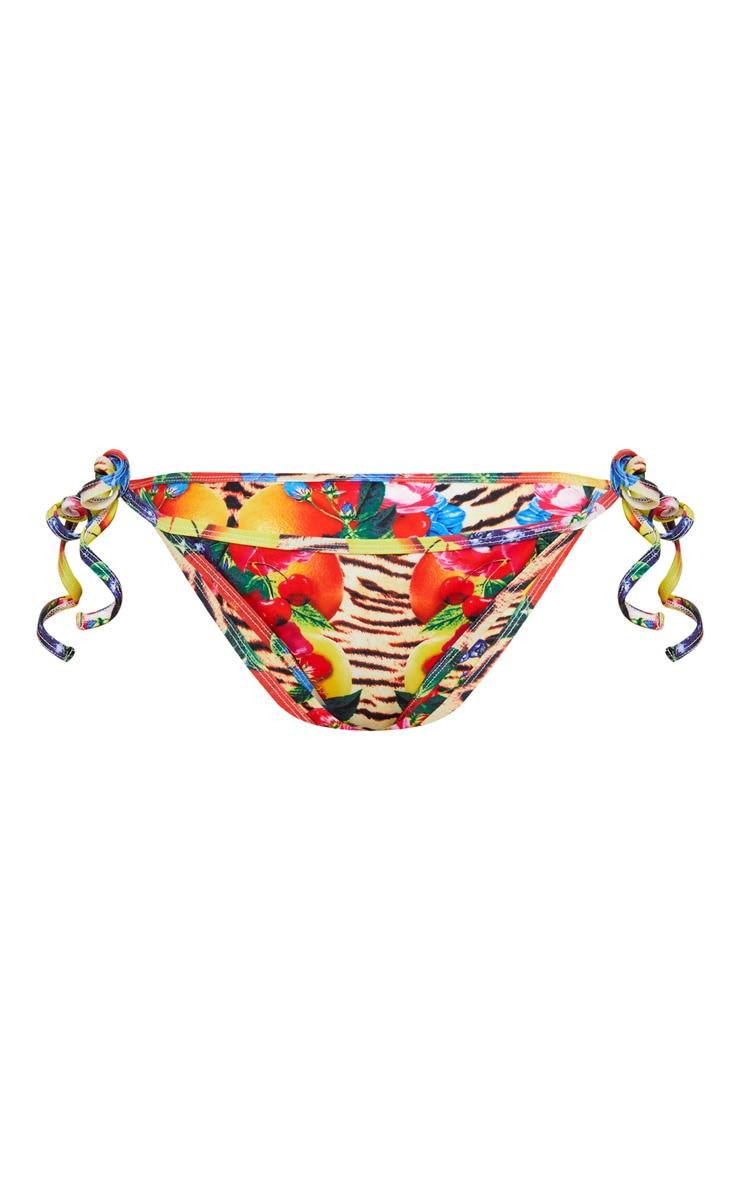 Wild Fruit Print Tie Side Bikini Bottom 3