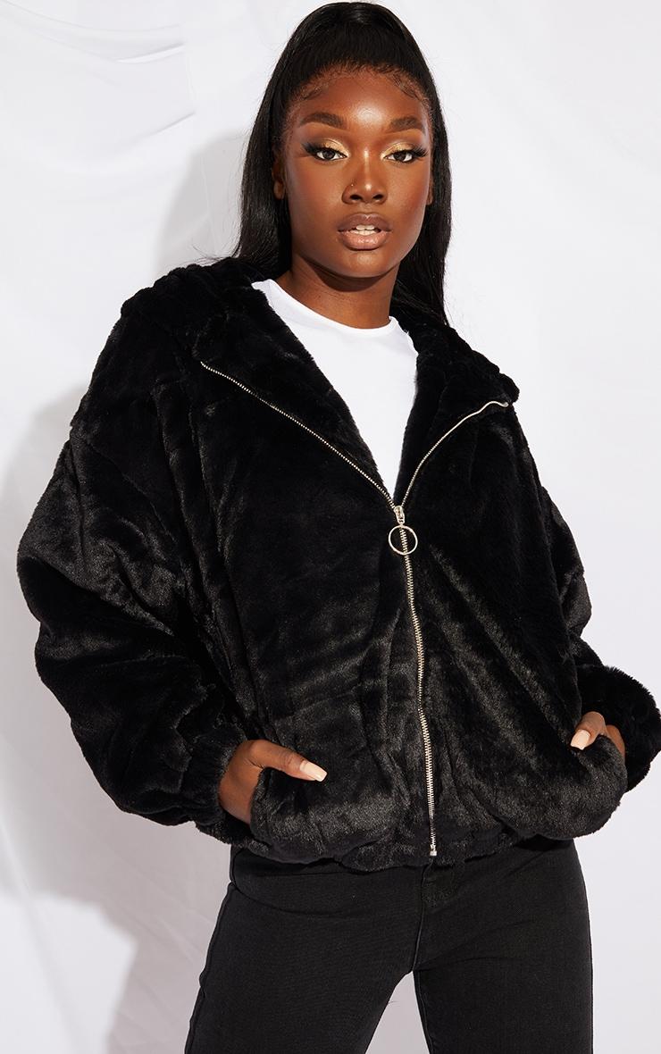 Tall Black Faux Fur Balloon Sleeve Hooded Jacket 1