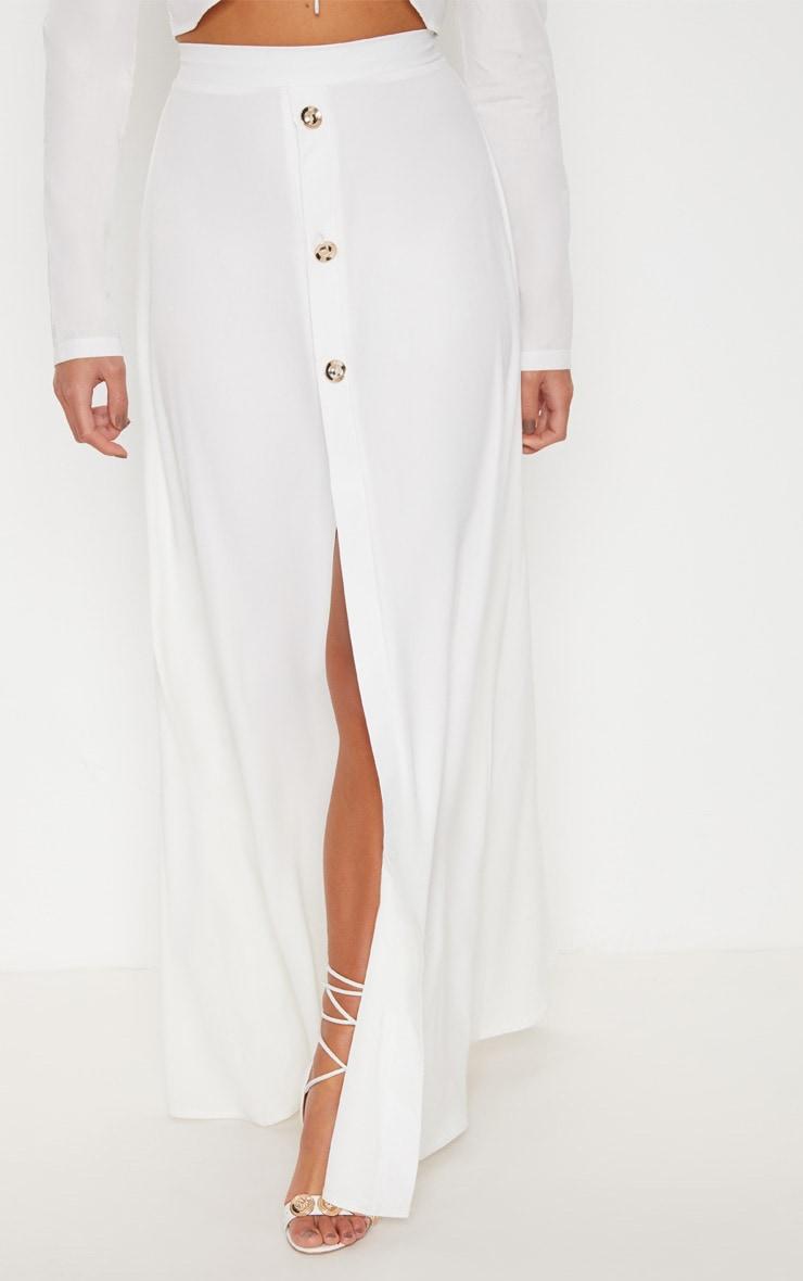 Cream Satin Button Front Maxi Skirt 2