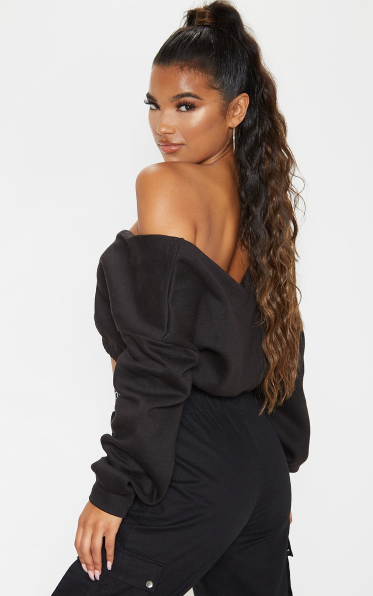 Black Crop Off Shoulder Sweater 3