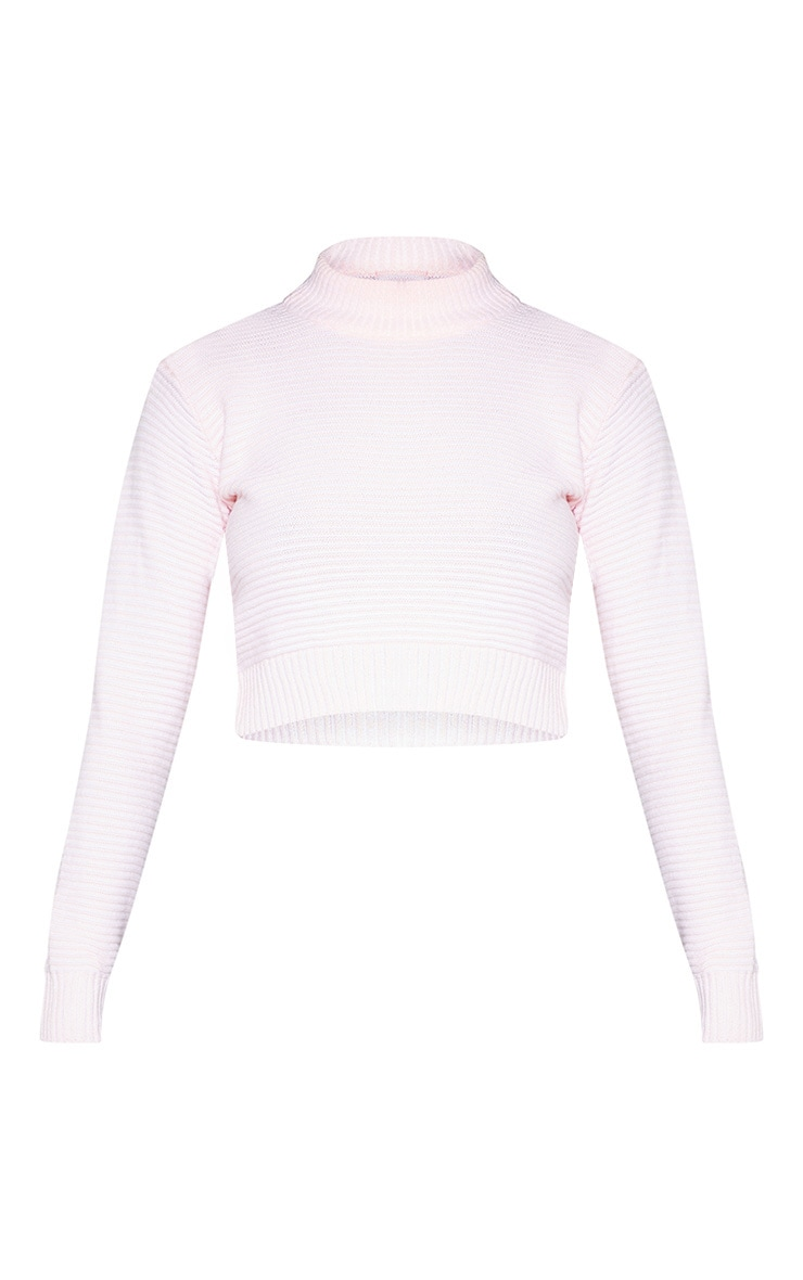 Pink Ribbed Cropped Knitted Jumper 3