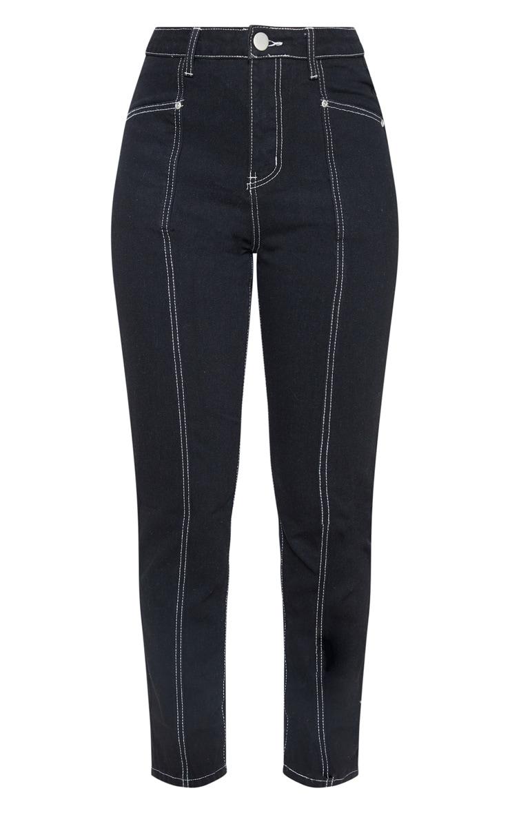 Black Front Seam Straight Jean 3
