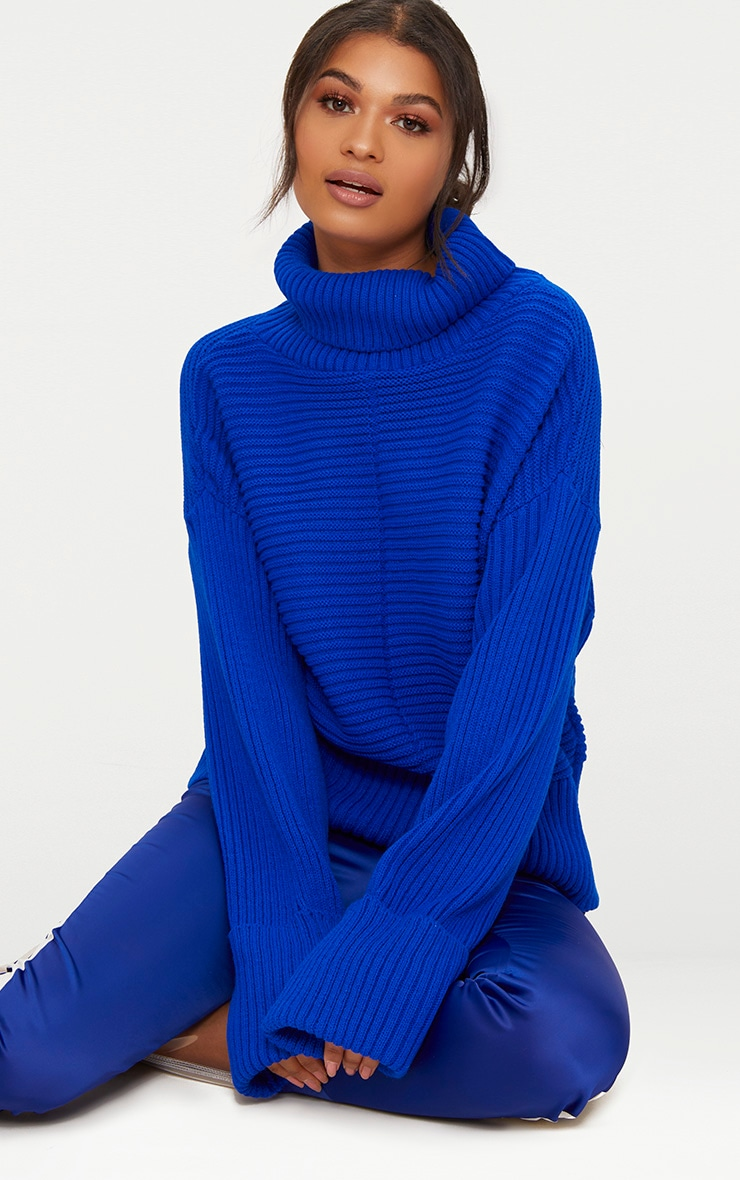 Cobalt Extreme Sleeve Roll Neck Jumper 1